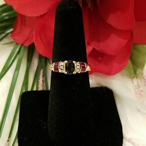 Jewelry - 10K DIAMOND SAPPHIRE RUBY RING *FIRM PRICE*